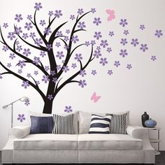 Amazon.com - Cherry Blossom Wall Decals Baby Nursery Tree Decals Kids Flower Floral Nature Wall Decor Wall Art- Cherry Blossom Tree 2(tree trunk:Black;flowers:Hydrangea Purple;butterflies:Soft Pink) -