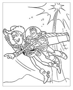 woody and buzz lightyear flying coloring page