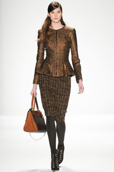 Badgley Mischka- texture and color to work in this peplum jacket and tweed pencil skirt #NYFW