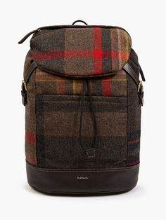 Paul Smith Men's Checked Wool and Leather Backpack   oki-ni
