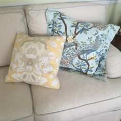 More #Pillowfolly goodness, still loving @dwellstudio peacock fabric, with our Slipcoverfabrics.com John Linen on the sofa and a little #shabby ticking trim.. #mywork  Designfolly by Kerry Ann