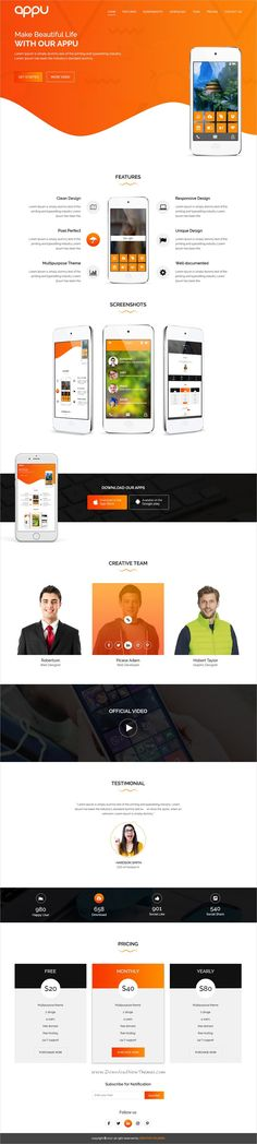 Appu is clean and modern design #PSD template for onepage app #landingpage website download now..