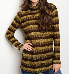 Open Knit Cable Sweater Tunic Turtleneck Long Sleeve Tonal Stripe Design #Fashion #TurtleneckMock