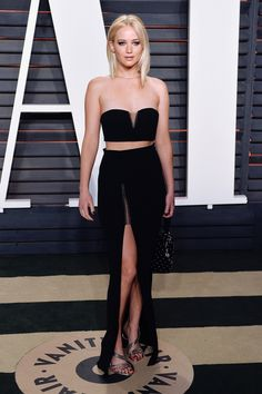 Jennifer Lawrence at the Vanity Fair party after the 88th annual Academy Awards ceremony (the Oscars) in Los Angeles, 2016.