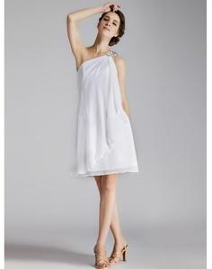Chic robe de soirée courte rectangulaire en mousseline - Persun FR