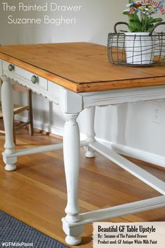 The Painted Drawer, http://www.thepainteddrawer.com/, went classic with this makeover. The base and legs were painted with the simple yet stunning General Finishes Antique White Milk Paint. You can find your favorite GF products at Woodcraft, Rockler Woodworking stores or Wood Essence in Canada. You can also use your zip code to find a retailer near you at http://generalfinishes.com/where-buy#.UvASj1M3mIY. #generalfinishes #gfmilkpaint #classic