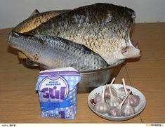 Očištěné ryby naporcujeme a zvážíme. Na 5 kg ryb použijeme 150 g soli a asi 4 menší hlavičky česneku. Oloupaný česnek rozetřeme se solí na pastu,... Thing 1, Fish, Meat, Pisces