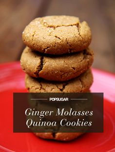 Bake a Batch of Tasty Goodness: Ginger Molasses Cookies With Quinoa Flour Healthy Desserts, Dessert Recipes, Baking Recipes, Cookie Recipes, Healthy Recipes, Healthy Baking, Yummy Recipes, Protein Recipes, Healthy Dishes