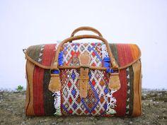 FREE SHIPPING, Weekender bag, Kilim leather bag, Boho Travel bag, Gypsy, Kilim, Weekender bag, Overnight bag, Duffle bag, Hand Stitched Bag