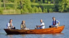 British PM Cameron, German Chancellor Merkel, Swedish PM Reinfeldt and Dutch PM Rutte sit in a punt with Reinfeldt handling the oars in a lake at Harpsund, southwest of Stockholm. British Prime Ministers, Jobs, David Cameron, Rowing, Stockholm, Sweden, Vacation, Summer, Pictures