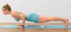 Chaturanga Dandasana - Your shoulders should be at the same height as your elbows, so that each arm creates a 90-degree angle. HOWEVER if you lack the core strength to maintain the integrity of straight spine, DO allow knees to rest on mat. OR don't go as low!  Wrist or Shoulder problems? Don't do this one.