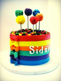 Skittles Cake this is a fun idea but I would live pandas holding those balloon things! Bithday Cake, Cupcake Birthday Cake, Cupcake Cakes, Skittles Cake, Colorful Birthday Cake, 21st Cake, Cake Cover, Specialty Cakes, Amazing Cakes