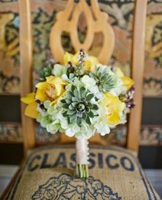 Succulent Bridal Bouquets {Trendy Tuesday} | Confetti Daydreams - A yellow succulent bouquet beauty! ♥  ♥  ♥ LIKE US ON FB: www.facebook.com/confettidaydreams ♥  ♥  ♥ #Wedding #Succulents #Bouquets
