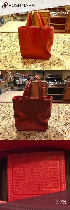 Coach Handbag Red small Coach tote. The color is more towards coral. Very good condition. Coach Bags Totes