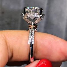 Heart Flower Promise Ring 925 Silver RingLimited Time Only - This Ring is Not available in stores! Silver Bracelets, Silver Jewelry, Diamond Jewelry, Gold Jewellery, Silver Earrings, Engagement Ring Types, 925 Silver, Sterling Silver Rings, Simple Jewelry
