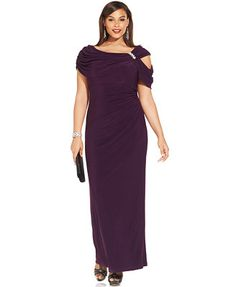 Xscape Portrait-Collar Cutout Embellished Gown