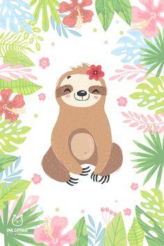 Cartoon Wallpaper, Wallpaper Kawaii, Cute Baby Sloths, Cute Sloth, Funny Sloth, Sloth Cartoon, Cute Cartoon, Sloth Drawing, Crochet Sloth