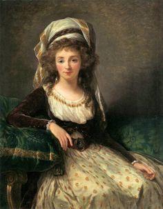 Marie-Louise-Elisabeth Vigée-Lebrun (French artist, 1755-1842) Marquise de Aguessenau wearing a robe a la turque 1789
