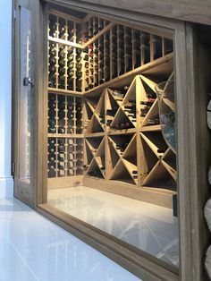 Bespoke wine racking for under stairs wine storage, perfect for any home re-design or makeover! Made from hand in the UK using Pine, this wine cellar can store up to 350 bottles. Glass Wine Cellar, Home Wine Cellars, Wine Cellar Design, Wine Cellar Modern, Staircase Storage, Stair Storage, Wine Storage, Closet Storage, Storage Ideas