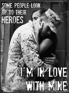 Military Wife - Some people look up to their heroes. I'm in love with mine! - Marine Corps Life by kelly. Usmc Love, Marine Love, Military Love, Military Spouse, Military Wedding, Marine Baby, Military Signs, Military Deployment, Airforce Wife