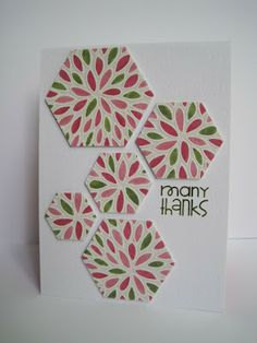 handmade card from I'm in Haven. Stamped in white on vellum, heat embossed and colored back side with markers. Beautiful! ... hexagons ...