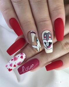 Gel Nails Designs Inspirations - Page 11 of 59 - Soflyme Valentine's Day Nail Designs, Cute Acrylic Nail Designs, Nails Design, Cartoon Nail Designs, Art Designs, Disney Acrylic Nails, Best Acrylic Nails, Nail Art Tropical, Bunny Nails