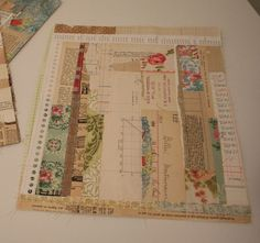 sew paper scraps in order to make pages  by Patty Van Dorin at  ramblingrose.typepad.com #useupscraps