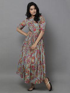 Grey Rose Cotton Maxi Dress