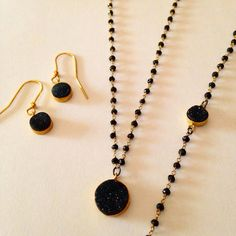 Mix necklace, bracelet and earring AUDREY of gold plated silver and black agata and black druzy. Worldwide Shipping  onejewelbcn@gmail.com