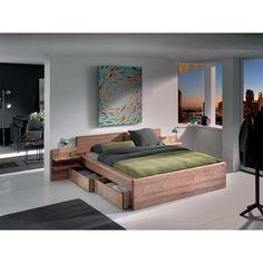 Chambre HELSINKI Wood Box Design, Bed Design, House Design, Bed Furniture, Pallet Furniture, Furniture Design, Home Room Design, Home Interior Design, Bedroom Layouts