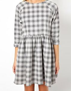 ASOS Denim Smock Dress in Check Print