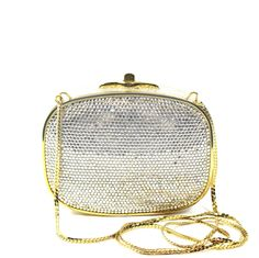 Judith Leiber Gold-tone Crystal-Embellished Clutch with Chain Judith Leiber, Leather Interior, Gold Leather, Chain, Crystals, Bags, Shopping, Handbags, Dime Bags