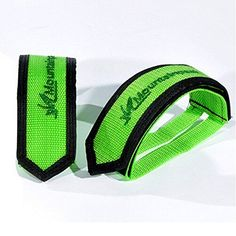 1 Pair New Bike MTB Cycling BMX AntiSlip Pedals Double Magic Tape Pedal Toe Clips Straps Magic Tape Fixed Gear Green *** Continue to the product at the image link.