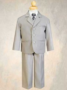 5 Piece Light Gray Suit with Shirt, Vest, and Tie: for the boys? or is it too light? Suit With Jacket, Vest And Tie, Suit Vest, Boys Formal Suits, Boys Suits, Suits 5, Dress Suits, Light Grey Suits, Gray Suits