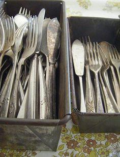 vintage cutlery in loaf tins #zarannehandmade http://www.pinterest.com/pin/481885228851328994/