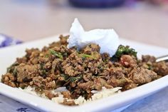 Greens hidden in Indian ground beef kheema--such an EASY and DELICIOUS way to get greens into your meals!