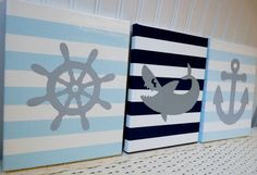 Nautical Nursery Wall Decor Anchor Shark Helm Canvas Paintings /Baby Boy Nursery Bedroom/ Wall Hanging Kids Art Grey, Navy and Light Blue