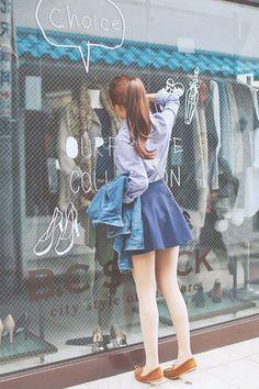 korean fashion casual street blue blouse skirt denim jacket
