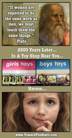 "I hate when they gender toys. Whats wrong with little boys practicing ""parenting skills"" on a doll like we expect girls too, or with girls learning to build like we expect boys to. I played with whatever was available when I was a kid. I had Barbie but she rode in a Tonka truck(often down the stairs) not a pink Corvette. Oh and my Barbies were lesbians before I even knew it was a thing."
