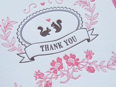 Letterpress Thank You Notes Set - squirrels (set of 6) by LuckyBeePress on Etsy