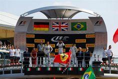 Podium and results: 1st Lewis Hamilton (GBR) Mercedes AMG F1, centre. 2nd Nico Rosberg (GER) Mercedes AMG F1, left. 3rd Felipe Massa (BRA) Williams Martini Racing, right. Formula One World Championship, Rd13, Italian Grand Prix, Monza, Italy, Race Day, Sunday, 7 September 2014