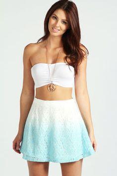#boohoo                   #Skirt                    #Matilda #Lace #Crochet #Skater #Skirt              Matilda Lace and Crochet Dip Dye Skater Skirt                                 http://www.seapai.com/product.aspx?PID=427471