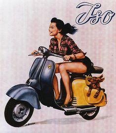 If I had a Vespa I imagine I would wear this ensemble while driving my pup Storm around town. Vespa (via ) Vespa Scooters, Motos Vespa, Lambretta Scooter, Motor Scooters, Vintage Vespa, Motos Vintage, Vintage Ads, Vintage Prints, Vespa Retro