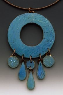 Wholey Dot Teardrop Pendant by Louise Fischer Cozzi ... etched/painted polymer Translucent Colors