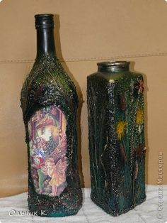 Декор предметов Аппликация Декупаж Роспись Бутылки бутылки бутылки  Бутылки стеклянные Крупа Материал природный Салфетки фото 2