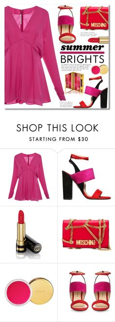 """Fuchsia Love"" by alialeola ❤ liked on Polyvore featuring Alessandra Rich, Paul Andrew, Gucci, Moschino, Estée Lauder, By Terry, romper and fuchsia"