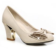 Intercontinental Shoes and Footware: Bowknot Round Toe Thick Heel Shoes High Heel Pumps, Women's Pumps, Pump Shoes, Shoes Heels, Designer Pumps, Stiletto Shoes, Sneaker Heels, Thick Heels, Kitten Heels