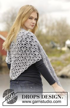 "#Crochet #DROPSDesign #shawl with #lace pattern in ""Air"". Pattern online now for free!"