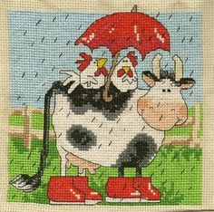 Cow Chickens cross stitch. Margaret Sherry design