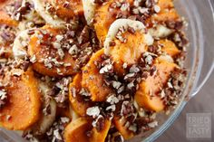 This Honey Glazed Apple & Sweet Potato Casserole is sure to please a crowd. Look no further for a fresh spin on the traditional sweet potato casserole!